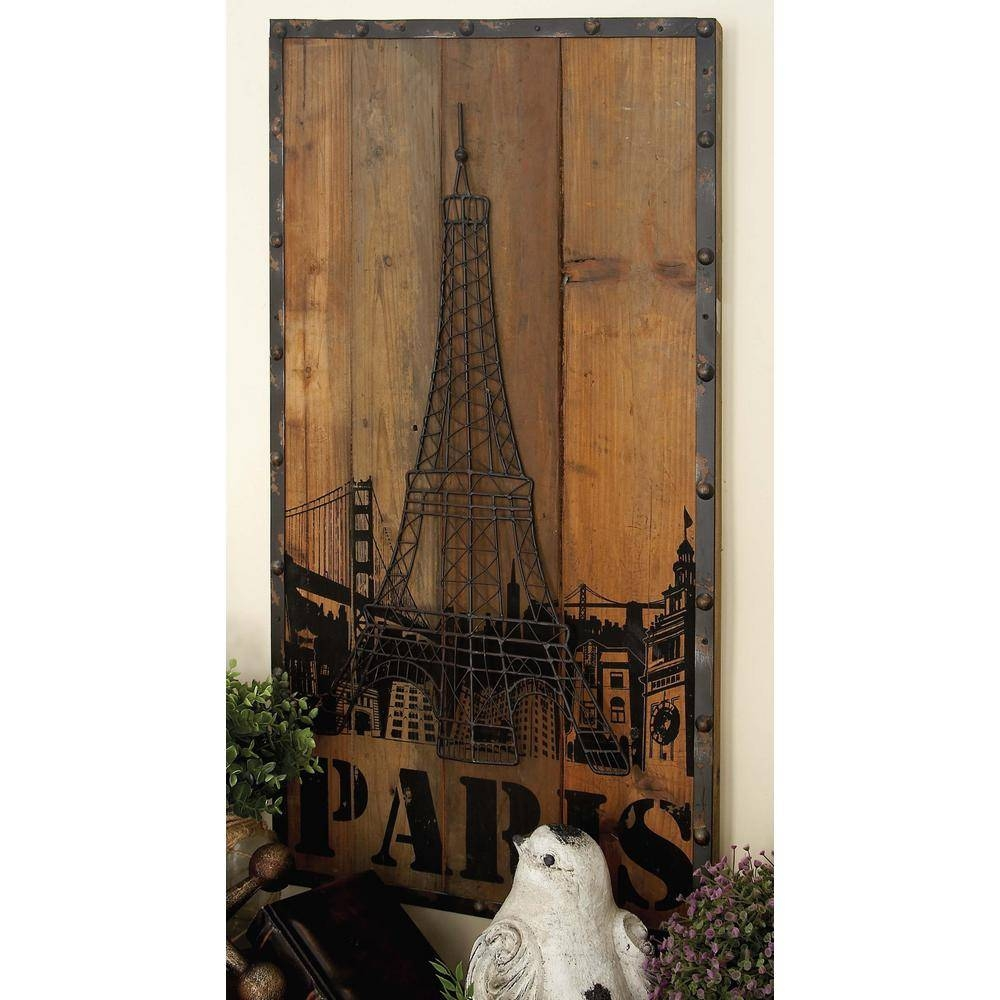 "36 In. X 20 In. New Traditional ""new York And Paris"" Metal Wall For Most Recent Paris Metal Wall Art (Gallery 2 of 20)"