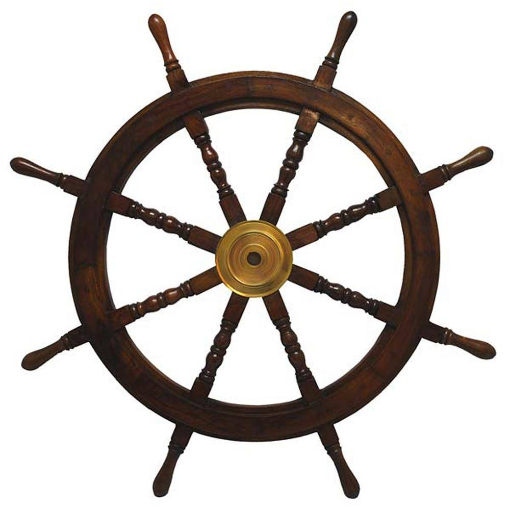 36 In. X 36 In. Nautical Wooden Ships Wheel Wall Art A021 – The Pertaining To Latest Metal Wall Art Ships (Gallery 16 of 20)