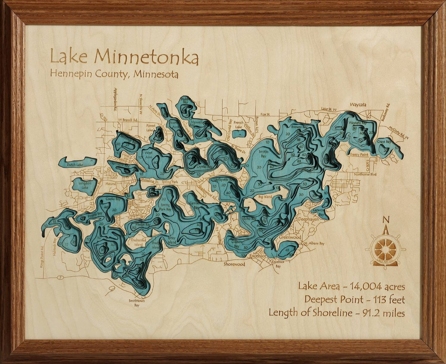 3D Laser Carved Wood Lake Maps | Lakehouse Lifestyle With Current Lake Map Wall Art (View 4 of 20)