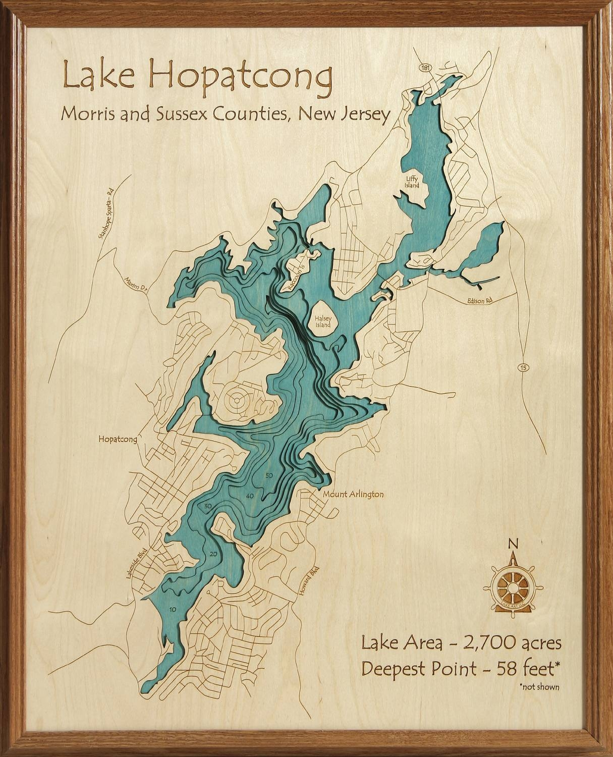 3D Laser Carved Wood Lake Maps | Lakehouse Lifestyle Within Recent Lake Map Wall Art (View 7 of 20)