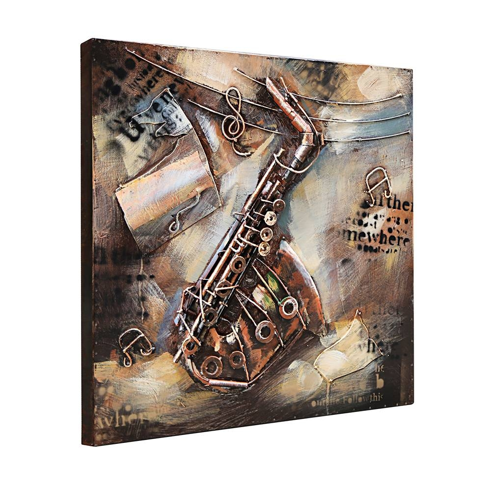 3d Metal Art 100% Handmade Metal Unique Wall Art The Musical For Best And Newest Musical Instruments Metal Wall Art (View 13 of 20)