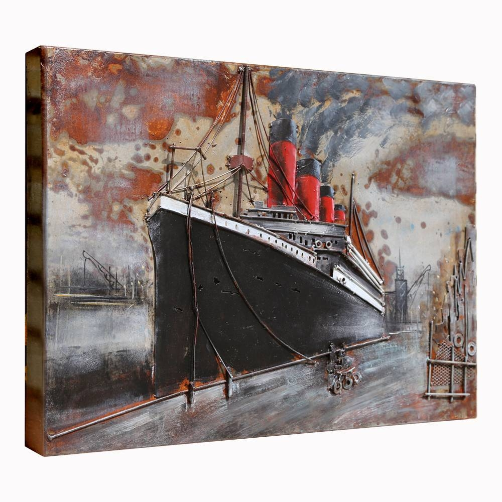 3D Metal Art 100% Handmade Metal Unique Wall Art The Ship With Regard To Current Metal Wall Art Ships (View 4 of 20)