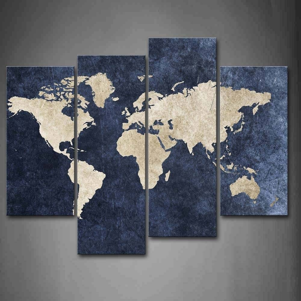 4 Piece World Map Canvas Wall Art100% Hand Painted Oil With Recent Canvas Map Wall Art (Gallery 5 of 20)