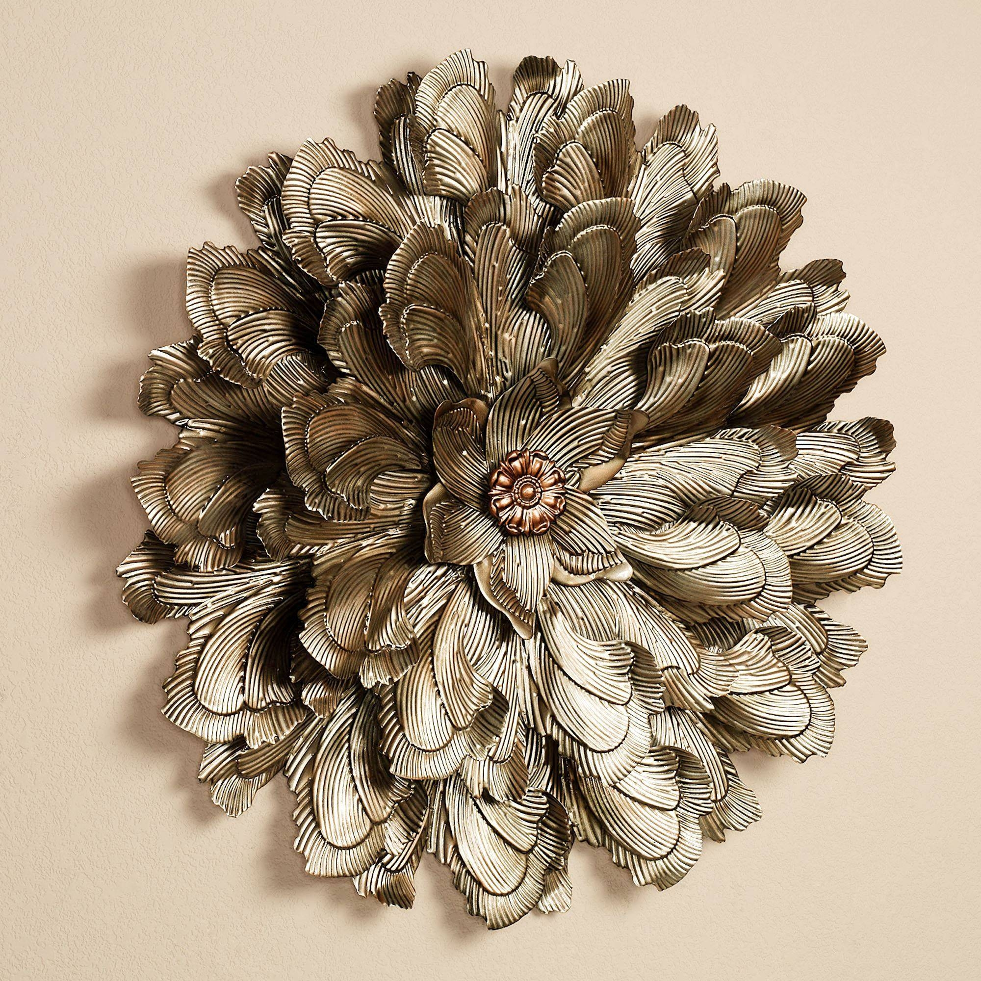 41 Silver Metal Wall Art Flowers, Home Metal Wall Art Wall Decor Within Newest Metal Wall Art Sculptures (View 1 of 20)