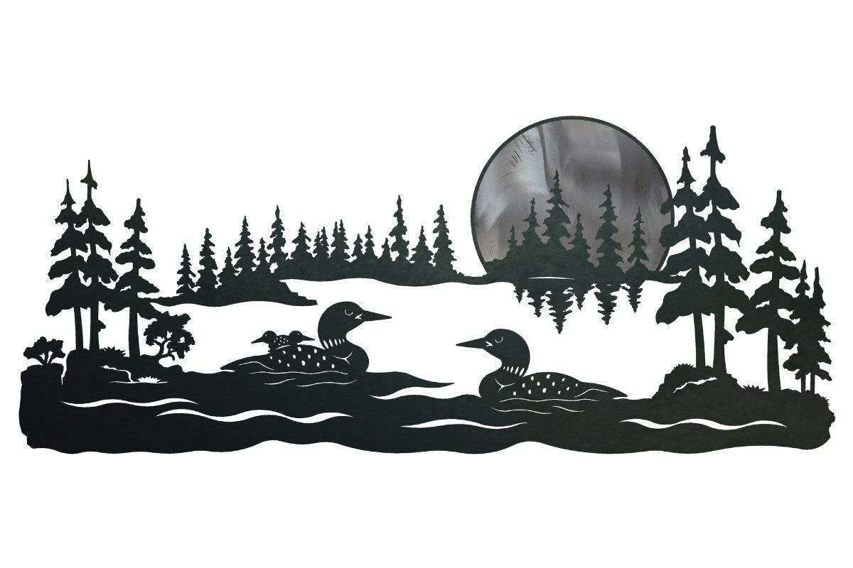 "42"" Swimming Loons Scenic Metal Wall Art – Birds Wall Decor With Regard To Current Bird Metal Wall Art (Gallery 6 of 20)"