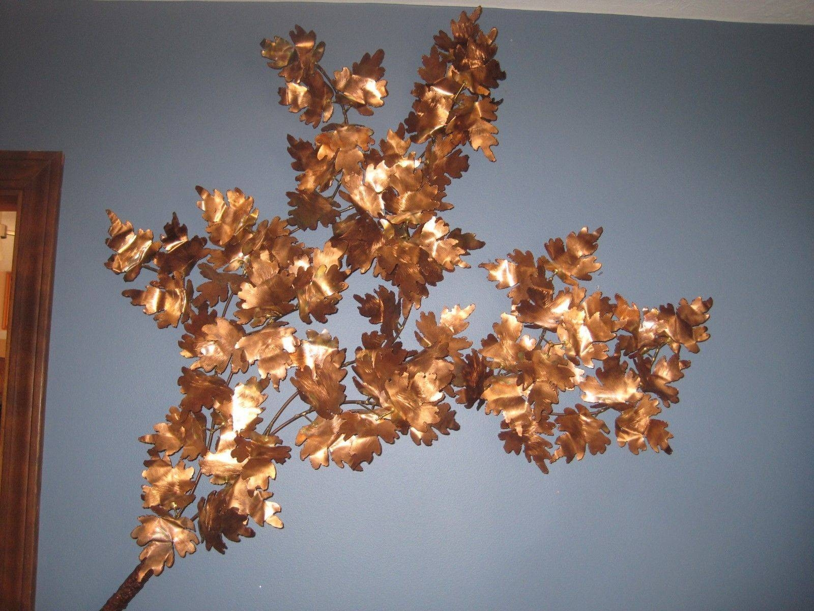 45 Solid Copper Metal Branch Maple Leaves 3D Wall Art Sculpture Inside 2017 3D Metal Wall Art Sculptures (Gallery 15 of 20)