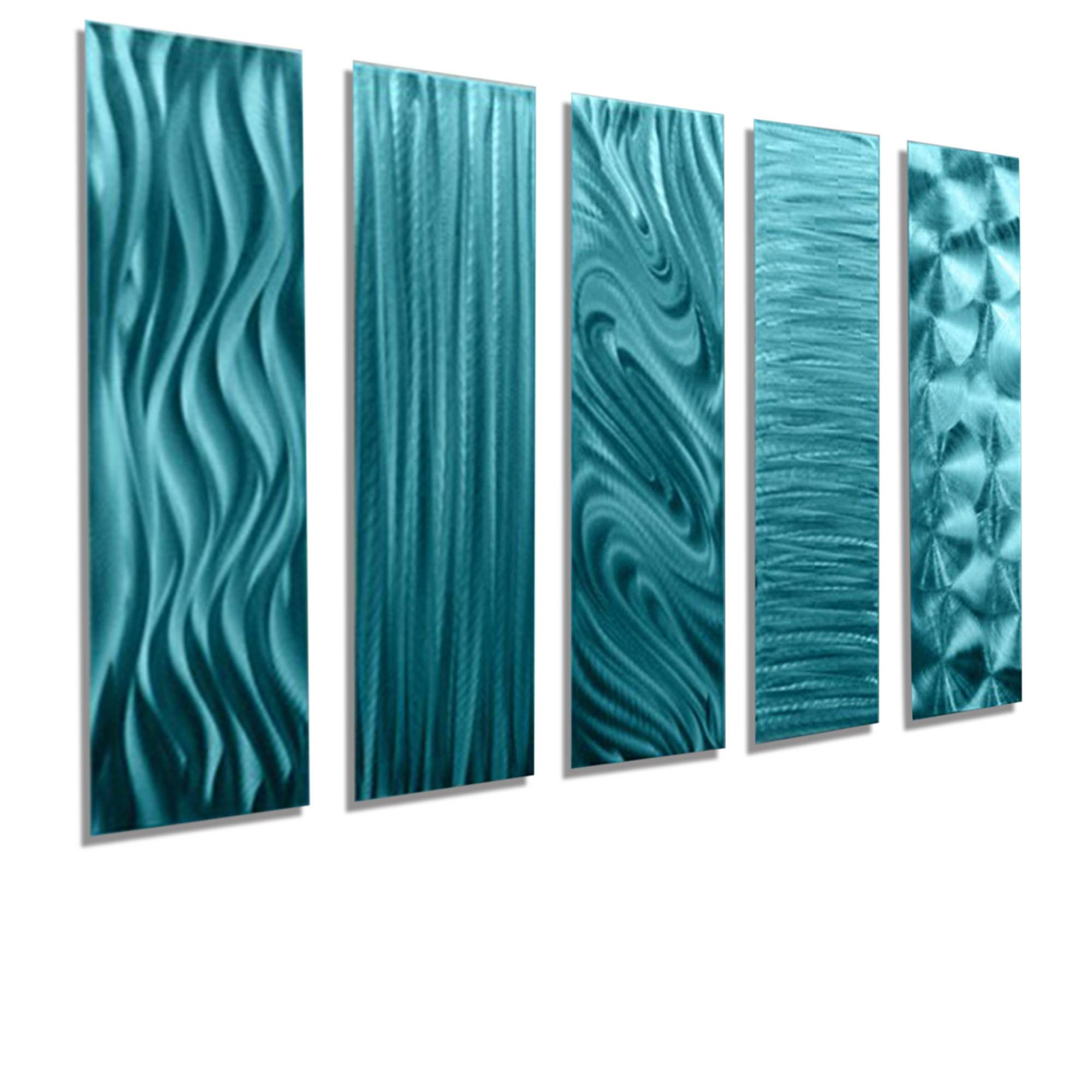 "5 Easy Pieces Aqua - Set Of Five 24"" X 6"" Metal Wall Art Accents within Most Recently Released Teal Metal Wall Art"