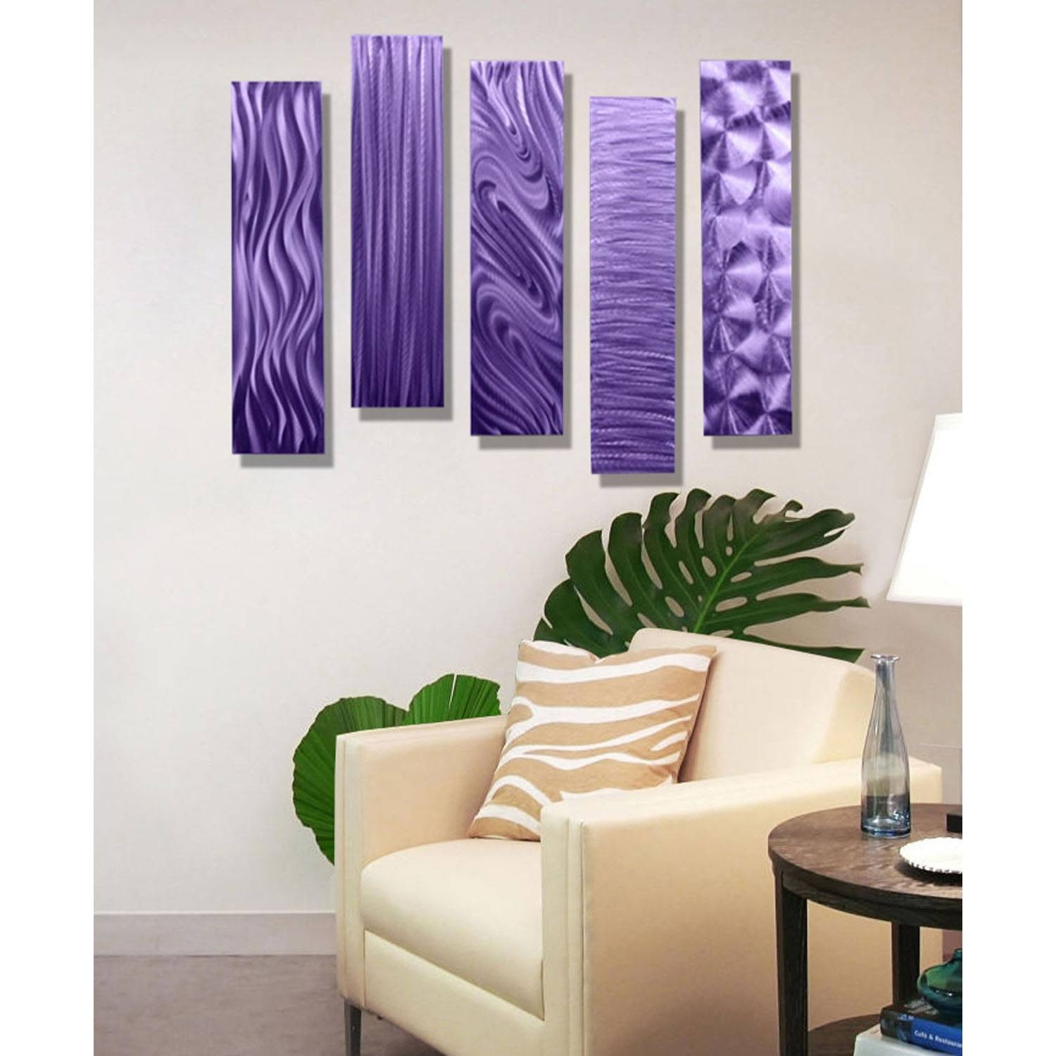 "5 Easy Pieces Purple – Set Of Five 24"" X 6"" Metal Wall Art Accents Pertaining To 2017 Purple Metal Wall Art (View 1 of 20)"