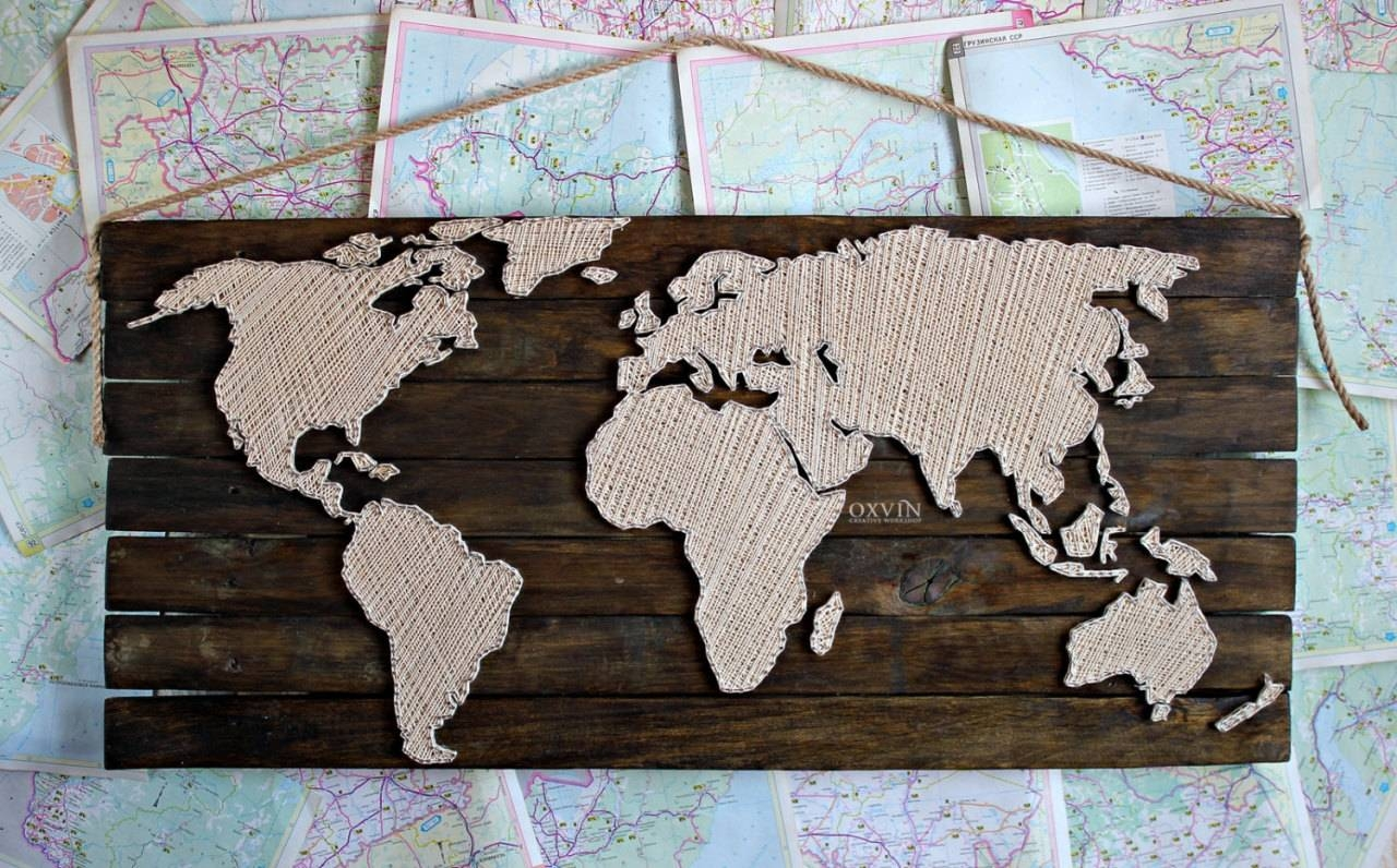 84×38Cm World Map String Art, Made To Order, – Hachaeva Blog Tumblr Within Most Up To Date String Map Wall Art (View 15 of 20)