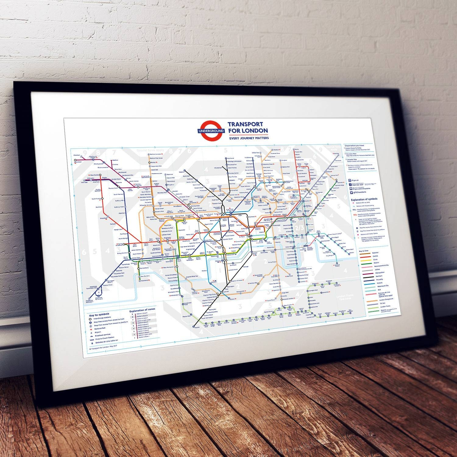 A3 Sized London Underground Tube Map Poster Print Wall Art In Most Popular Tube Map Wall Art (View 3 of 20)