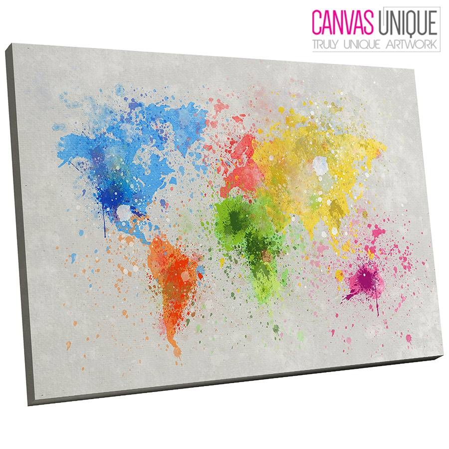 Ab347 Yellow Blue Paint World Map Abstract Canvas Wall Art Framed With Regard To Most Recently Released World Map Wall Art Print (View 1 of 20)