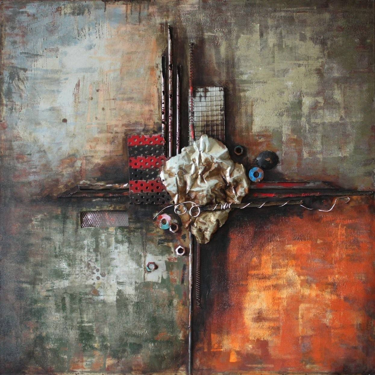 Abstract 4 3D Metal Wall Art Hand Painted – Metal Wall Art Regarding Latest Painted Metal Wall Art (View 1 of 20)