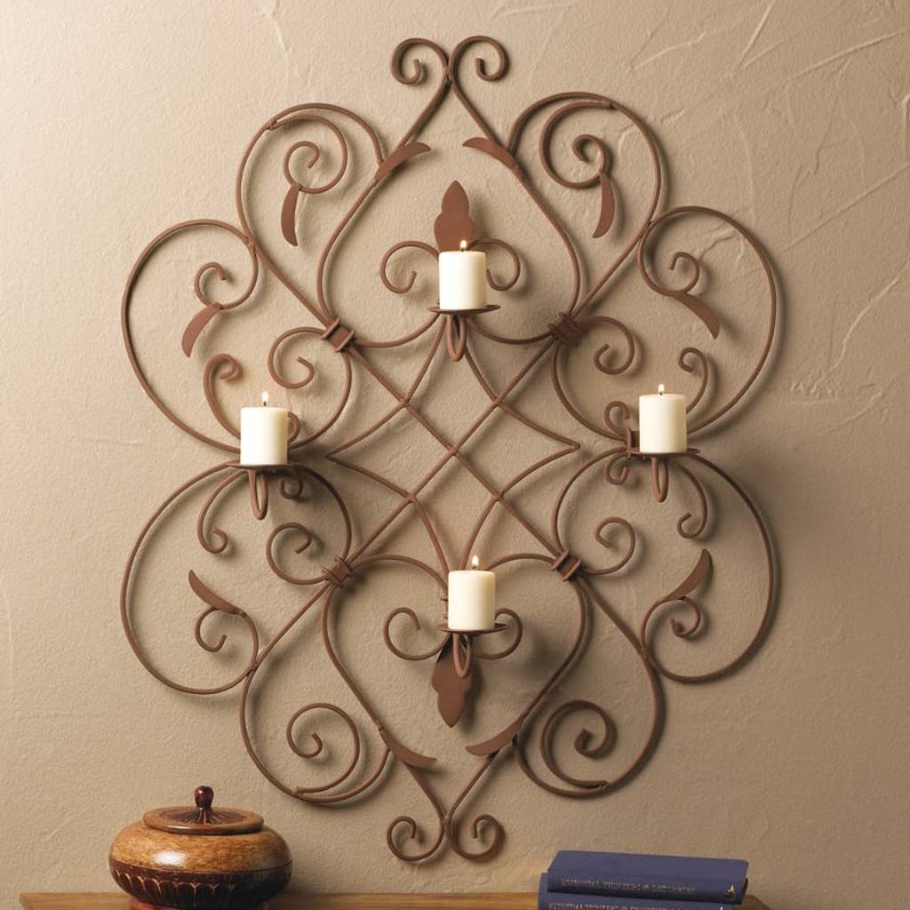 Accessories: Candle Holder And Mirror Fleur De Lis Wall Art Regarding Recent Metal Wall Art Candle Holder (View 1 of 20)