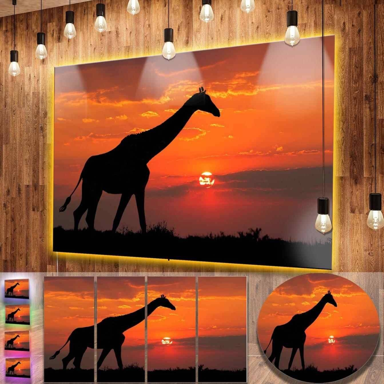 African Metal Wall Art Giraffe Savanna Contemporary Animal Graphic In 2017 Giraffe Metal Wall Art (View 14 of 20)