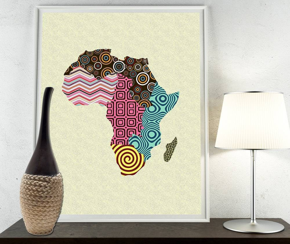 African Print Map Decor African Wall Art African Map Art Regarding Most Recently Released Africa Map Wall Art (Gallery 1 of 20)