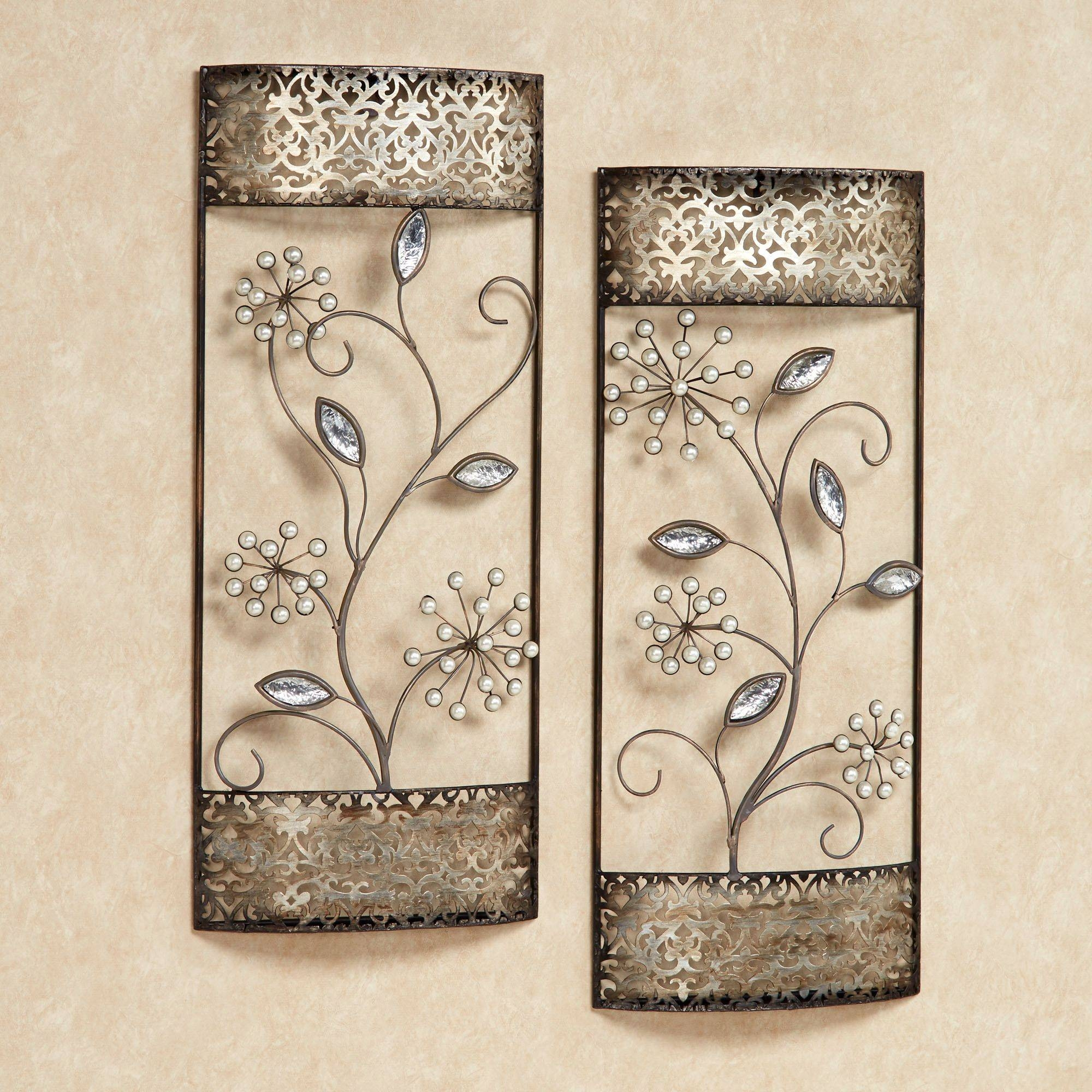 Amazing Floral Metal Wall Art Set Pearl Array Floral Metal Pink In 2018 Pink Metal Wall Art (View 1 of 20)