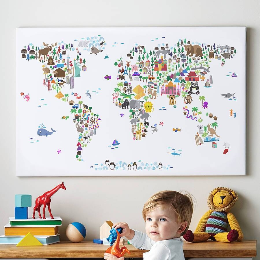 Animal World Map Printartpause | Notonthehighstreet Regarding Most Recently Released World Map Wall Art For Kids (View 3 of 20)