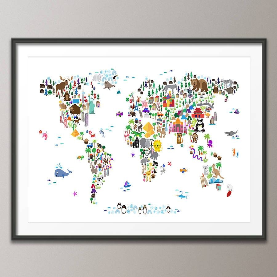 Animal World Map Printartpause | Notonthehighstreet Throughout Most Popular World Map Wall Art Print (View 3 of 20)