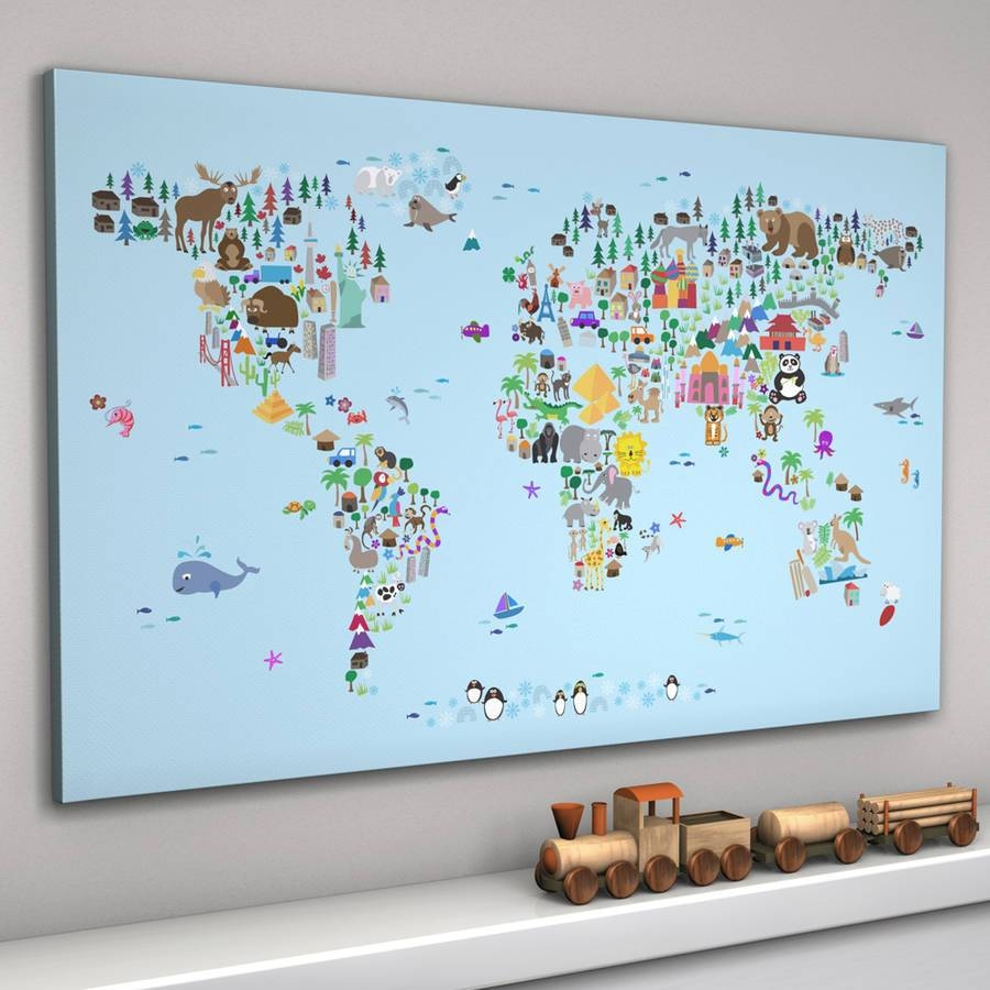 Animal World Map Printartpause | Notonthehighstreet With Regard To Most Current Kids World Map Wall Art (View 14 of 20)