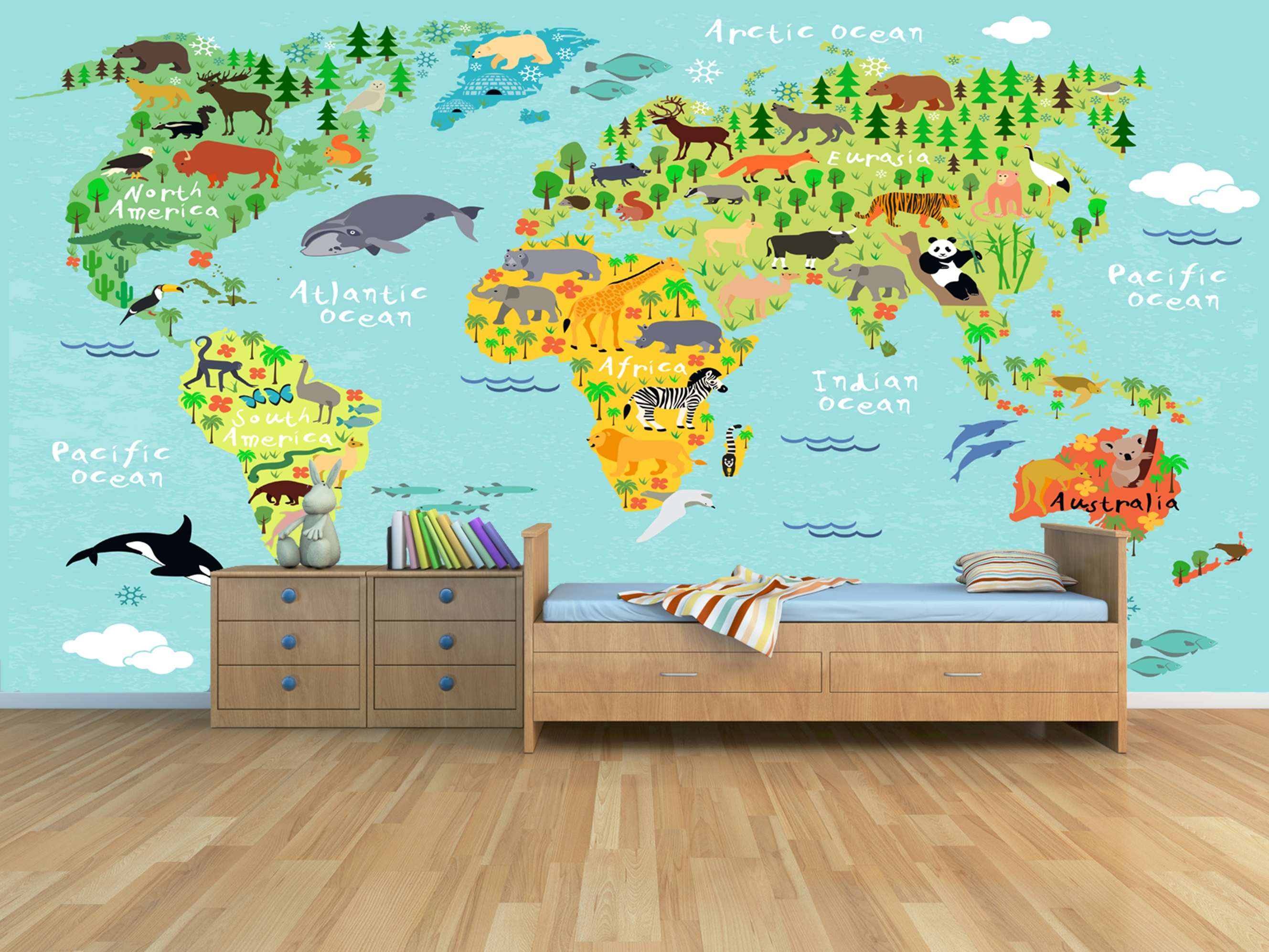 Animals Of The World Wall Mural Inside Most Current Kids World Map Wall Art (View 4 of 20)
