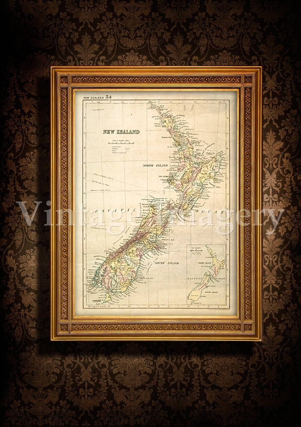 Antique New Zealand Map 1881 Old Map Of New Zealand (View 1 of 20)