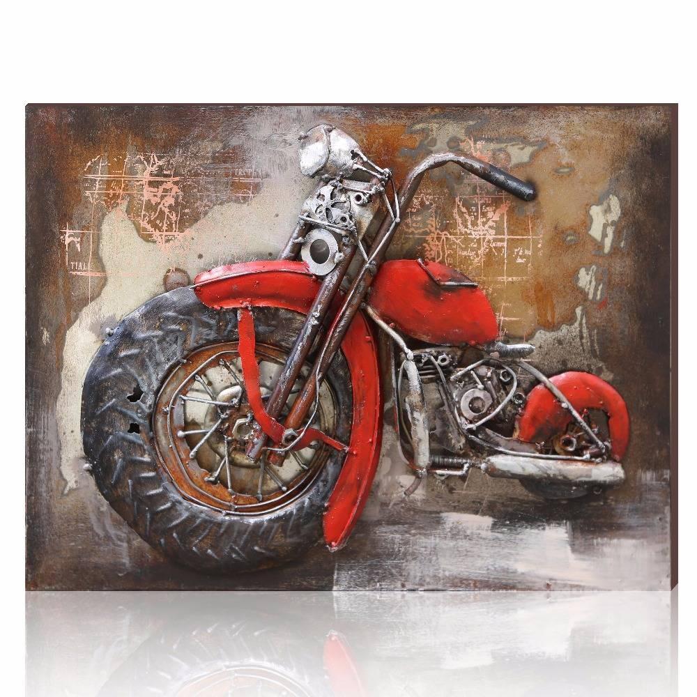 Aonbat Vintage Metal Motorcycle Painting Original Decorative In Most Recent Motorcycle Metal Wall Art (View 2 of 20)