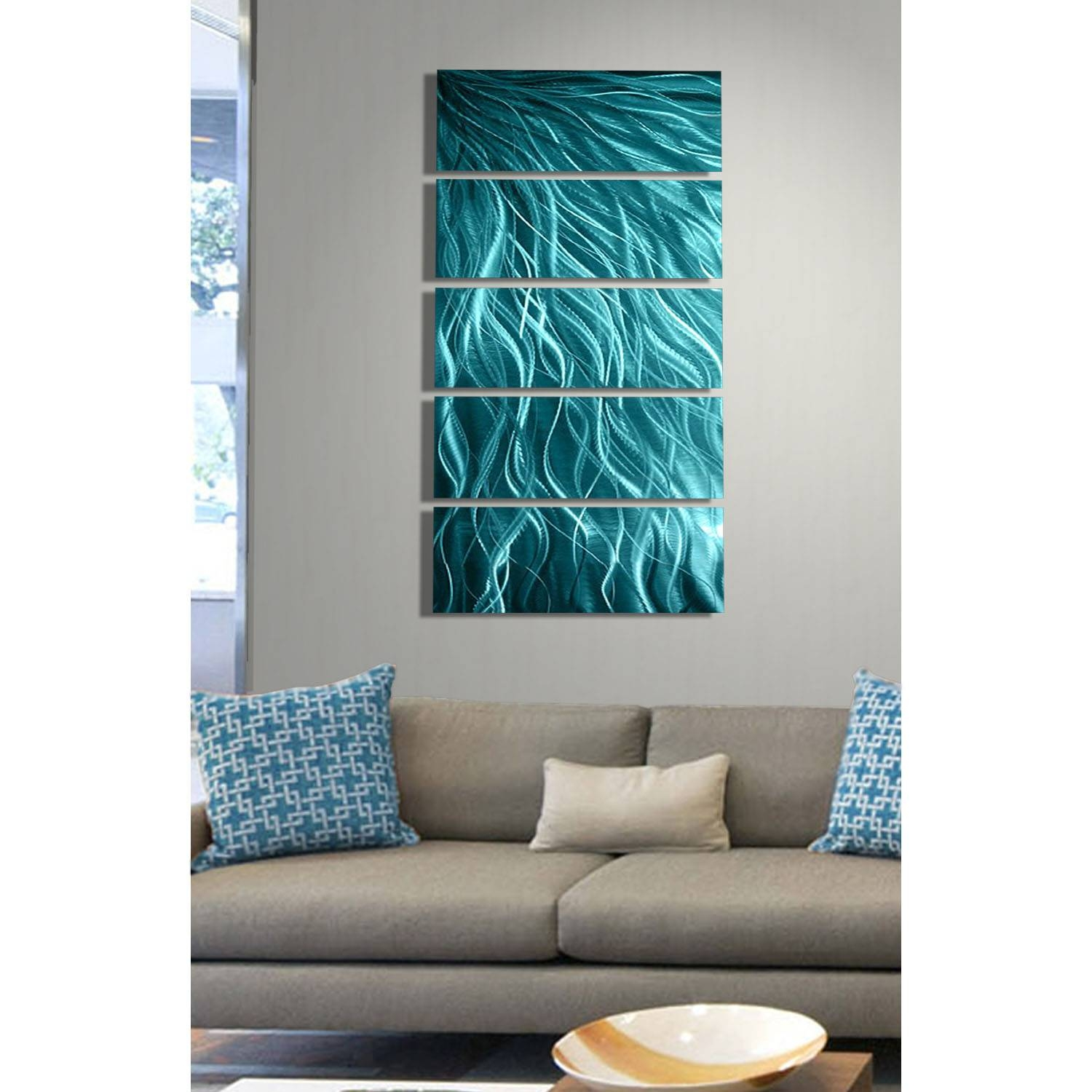 Aqua Sea Grass – Aqua Blue Metal Wall Art – 5 Panel Wall Décor In Most Up To Date Green Metal Wall Art (View 3 of 20)