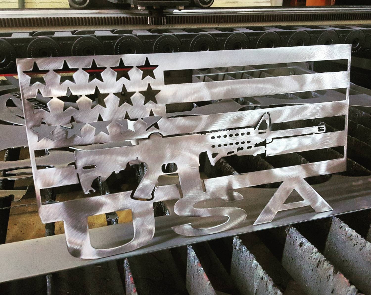 Ar 15 Flag Metal Art With Usa On Bottom Pertaining To Latest American Flag Metal Wall Art (View 5 of 20)