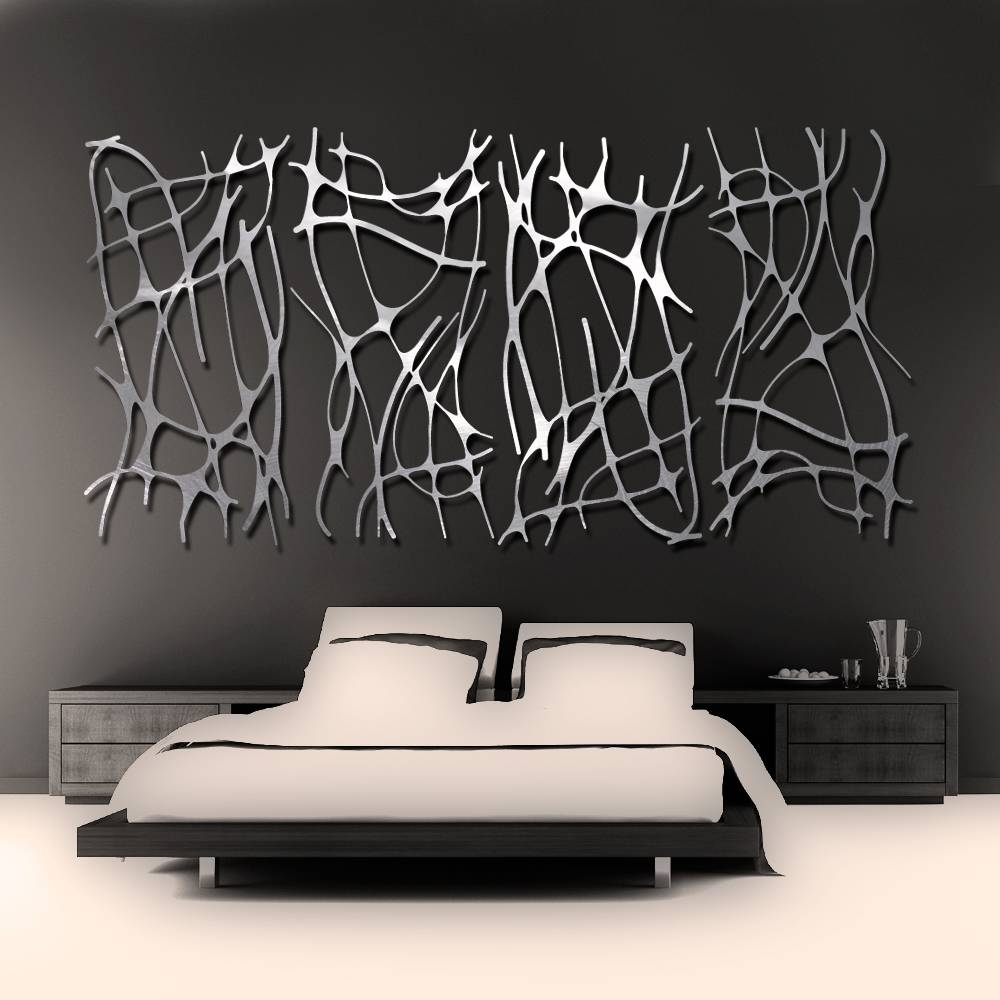 Art Nouveau Web 4 Panel In Brushed Aluminum Wall Sculpture Throughout Most Recently Released Brushed Metal Wall Art (View 1 of 20)