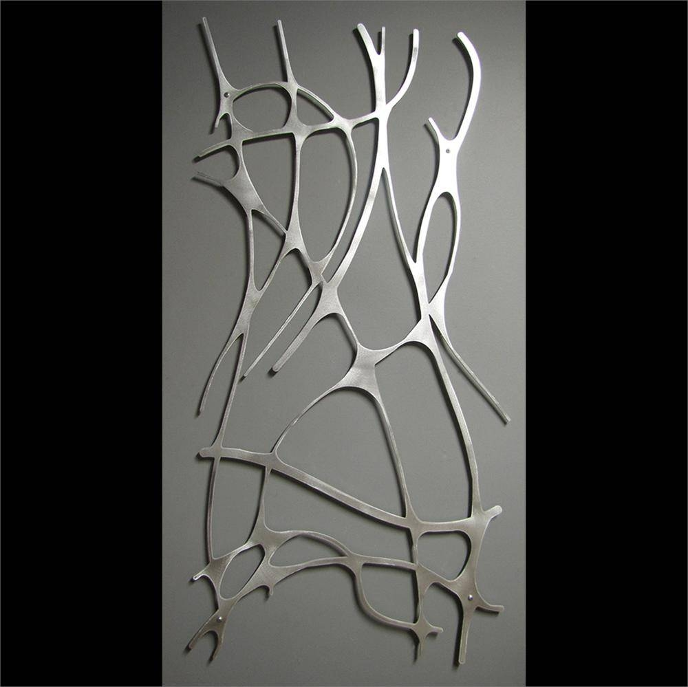 Art Nouveau Web 4 Panel In Brushed Aluminum Wall Sculpture Throughout Recent Brushed Metal Wall Art (View 2 of 20)