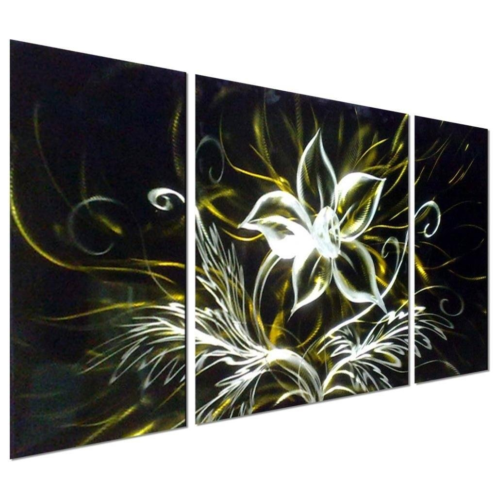 Art Stunning Night Flower Abstract Aluminum Metal Wall Art, Set Of Pertaining To Newest Black And Silver Metal Wall Art (View 1 of 20)