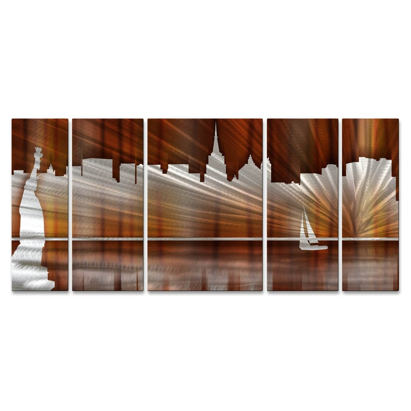 Ash Carl 'warm New York City Skyline' Metal Wall Art – Free Pertaining To Most Popular New York City Skyline Metal Wall Art (View 1 of 20)