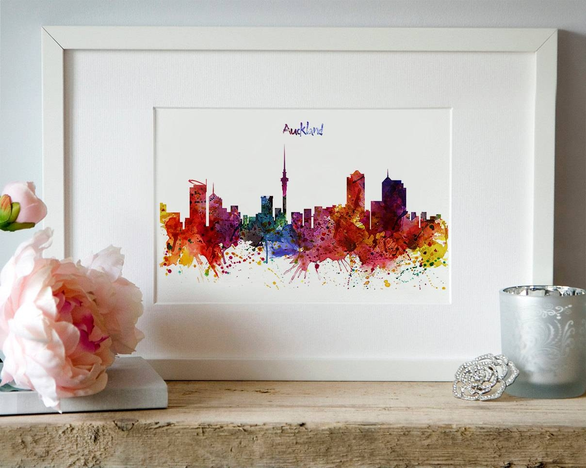 Auckland Skyline Watercolor Painting Printable Art Modern Art With Regard To Most Recently Released New Zealand Map Wall Art (View 12 of 20)