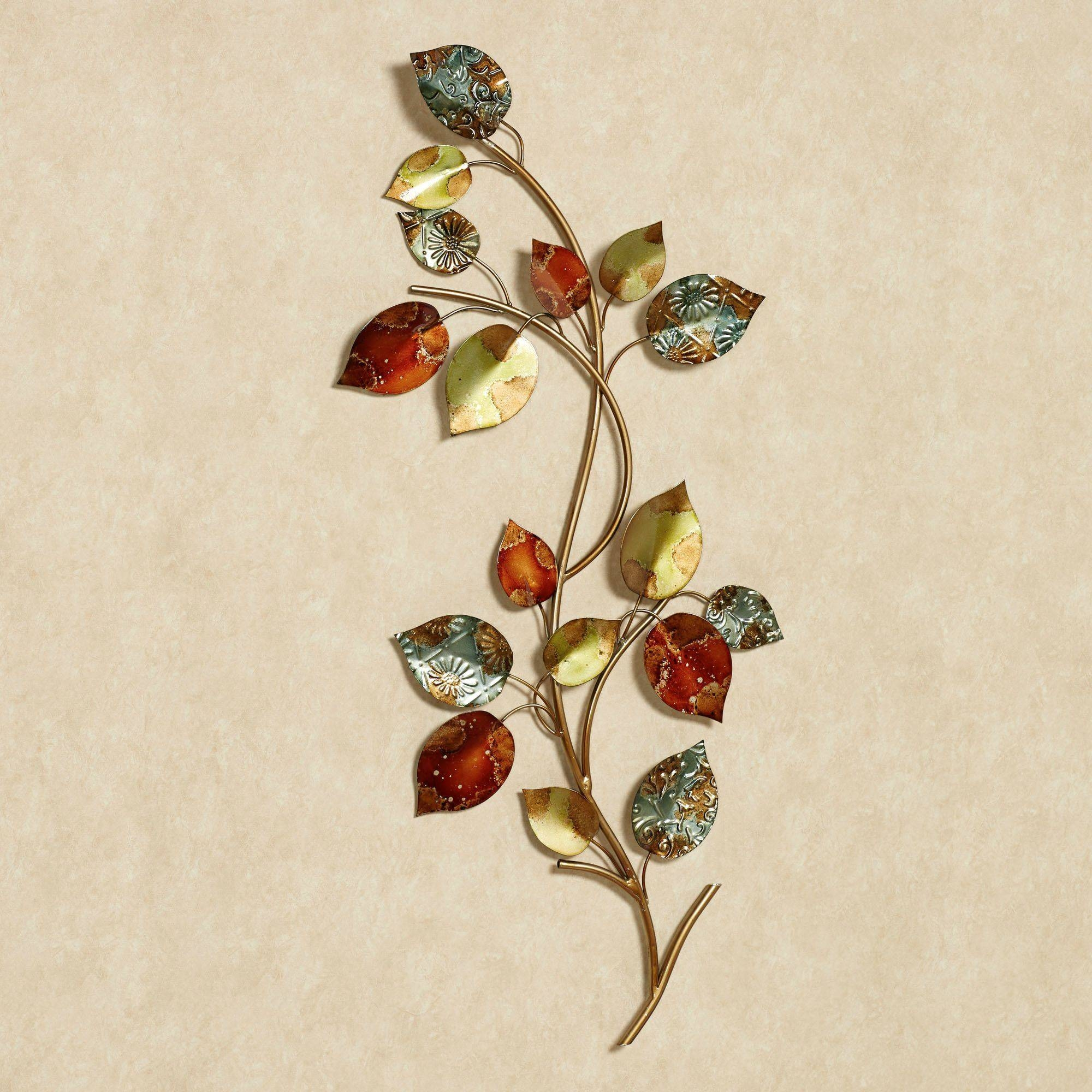 Autumn Array Leaf Branch Metal Wall Art Pertaining To Most Up To Date Metal Wall Art Leaves (View 3 of 20)