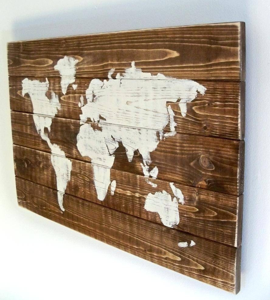 Barn Door Wall Art World Map Reclaimed Wood String Decor X And New In Most Up To Date Wood Map Wall Art (View 2 of 20)