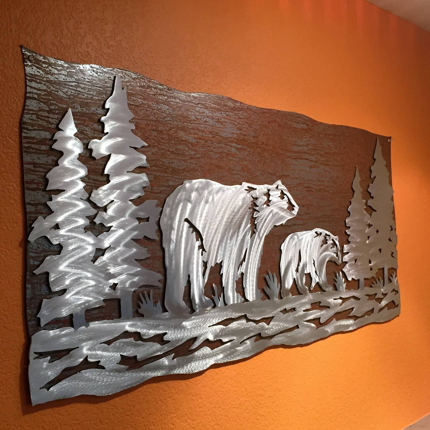 Bear Mountain Metal Art In Best And Newest Black Bear Metal Wall Art (View 16 of 20)