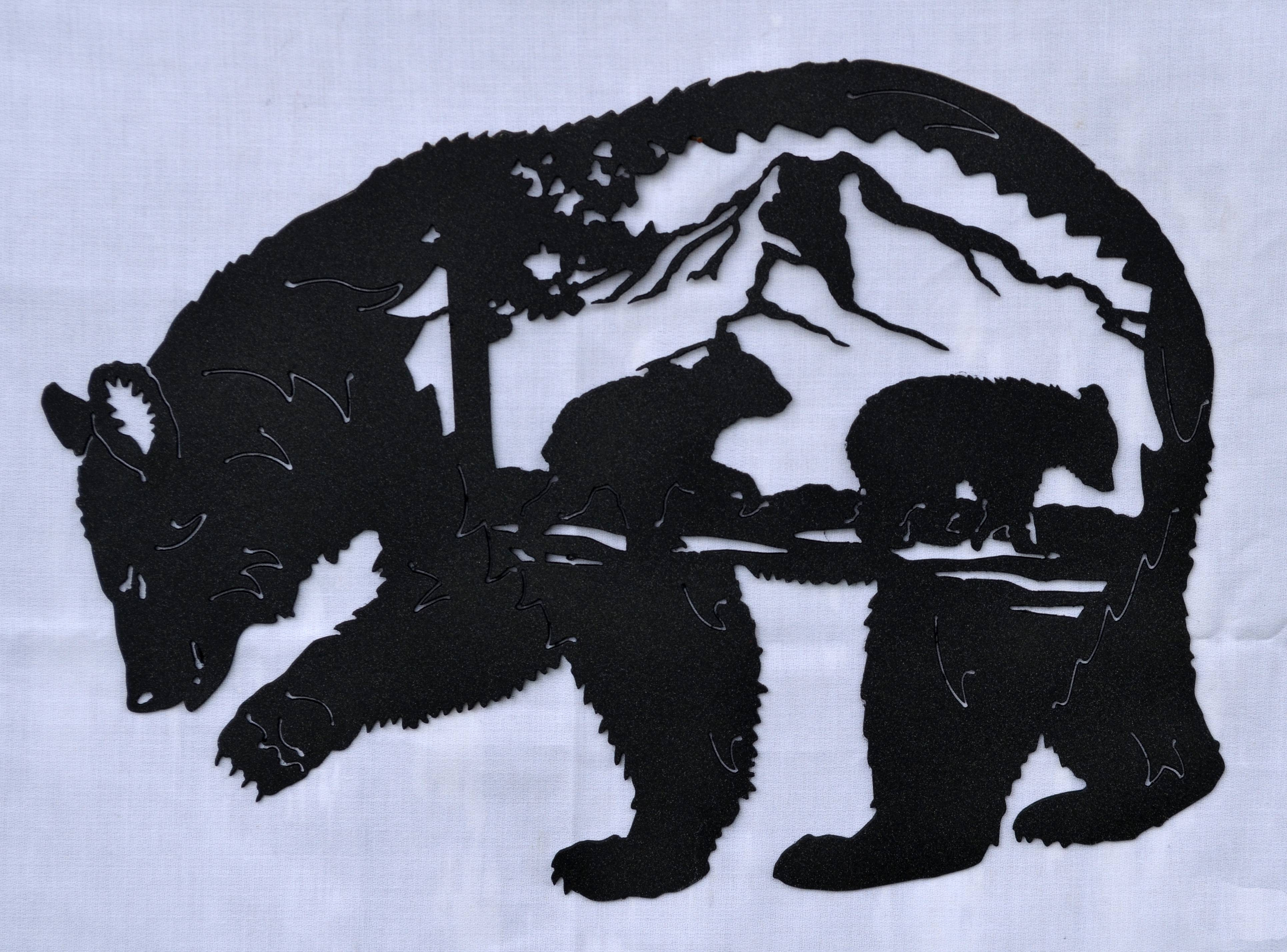 Bear Scene – Country Wonders Throughout Latest Bear Metal Wall Art (View 2 of 20)