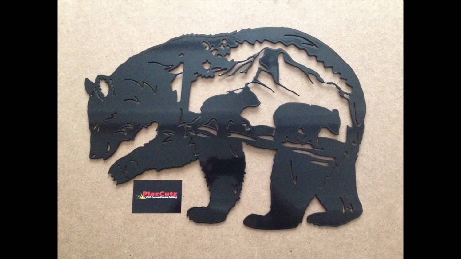 Bear Scene Metal Wall Art Plaque Cnc Plasma Cut And Powder With Most Current Plasma Cut Metal Wall Art (Gallery 2 of 20)