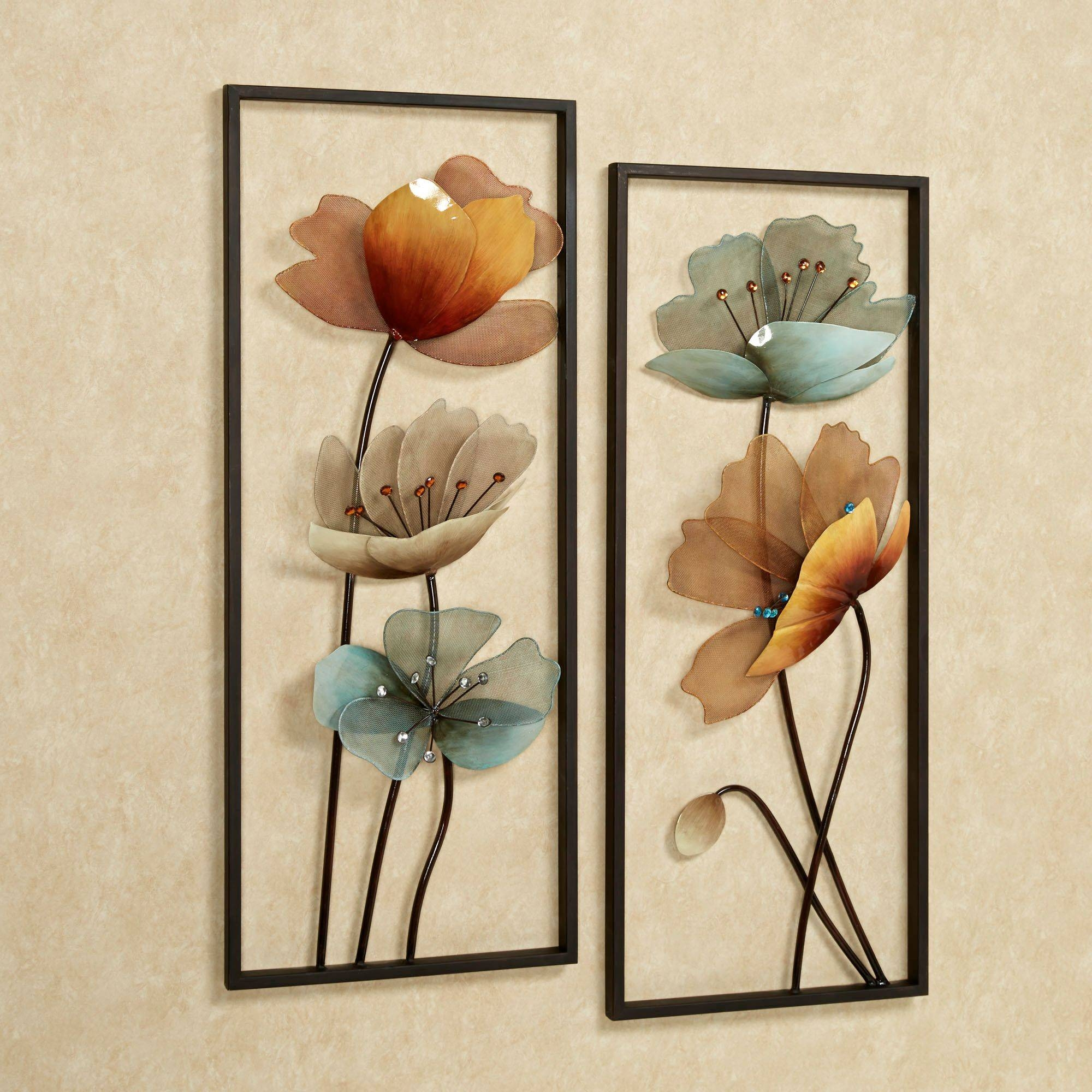Beauty Decorative Metal Wall Art : Unique Material Decorative With Newest Flower Metal Wall Art Decor (View 2 of 20)