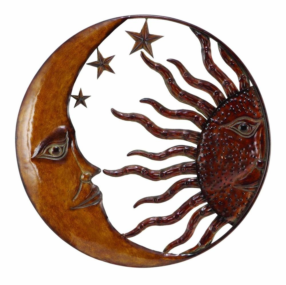 Benzara 63767 Copper Sun Moon & Star Wall Art Décor At Intended For Best And Newest Sun And Moon Metal Wall Art (View 9 of 20)