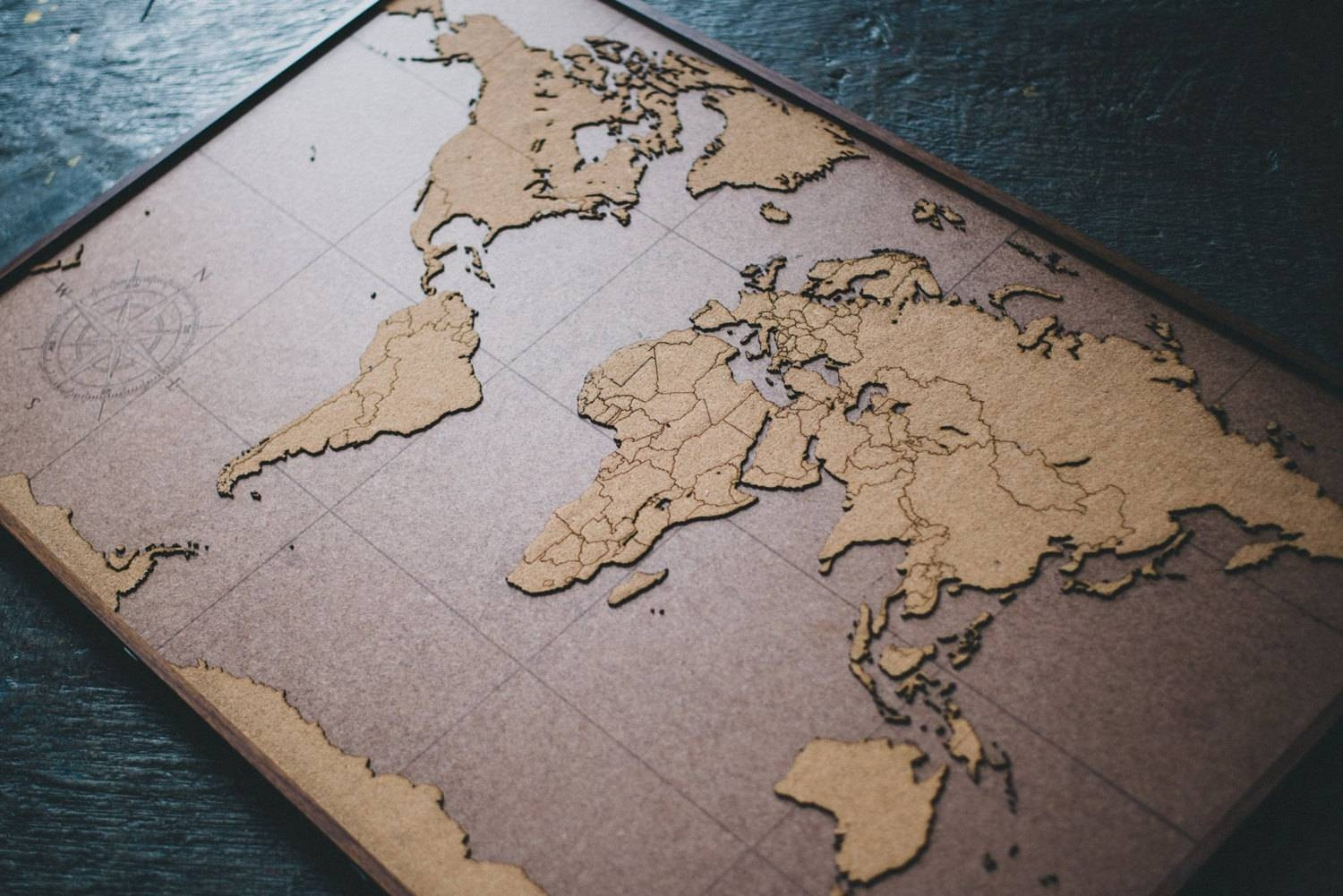 Big Lasercut And Handmade Cork World Map Wall Art With Intended For Latest Lake Map Wall Art (View 15 of 20)