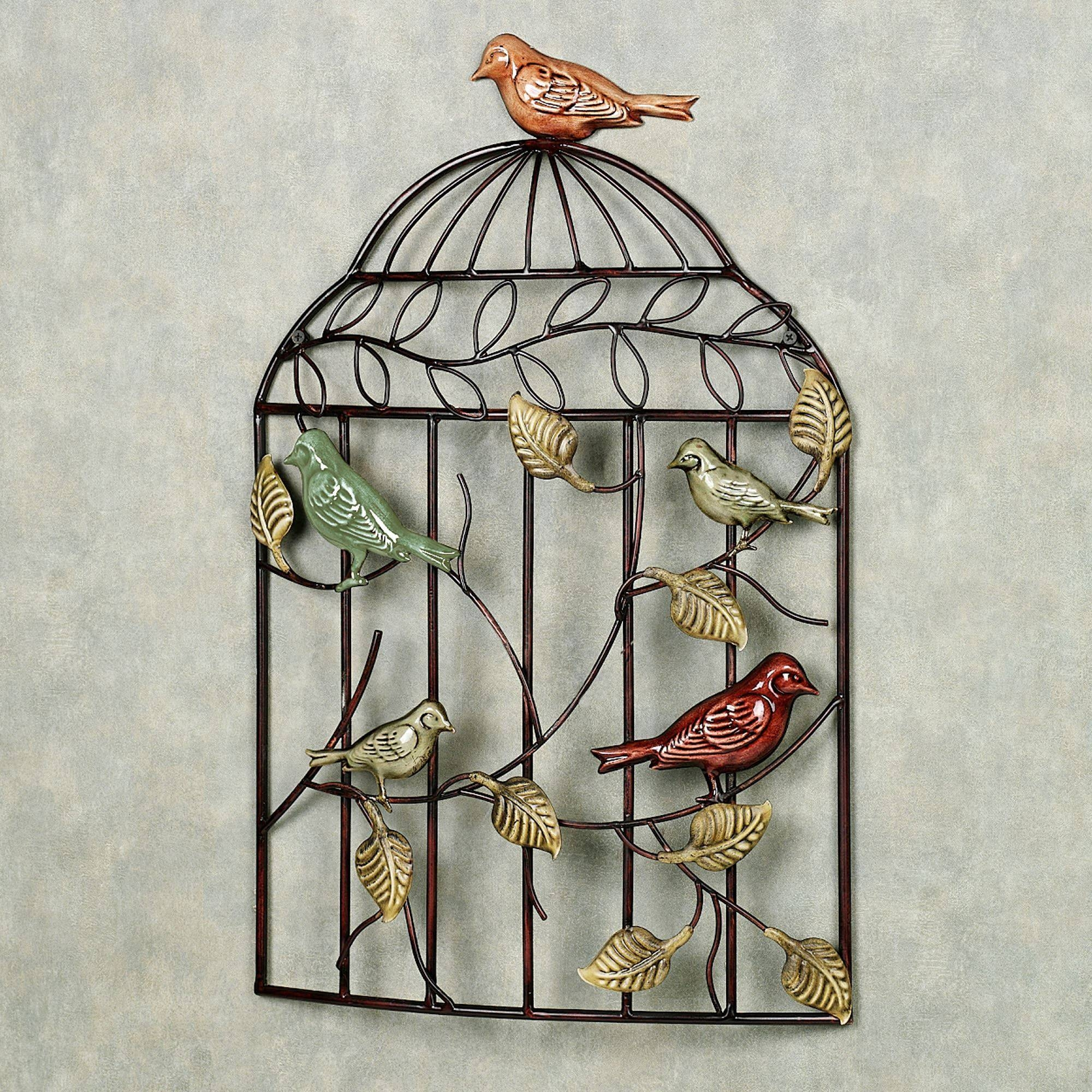 Bird Sanctuary Cage Metal Wall Art With 2017 Metal Wall Art Birds (View 8 of 20)