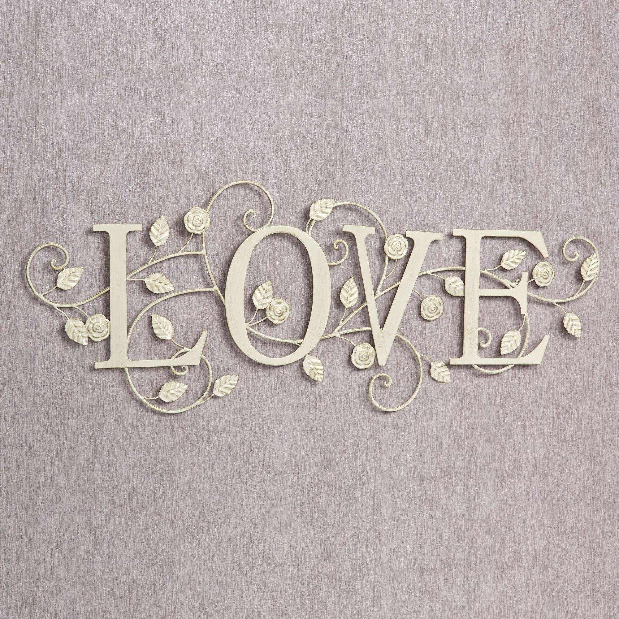 Blooms Of Love Metal Word Wall Art Intended For Most Popular Metal Wall Art Words (View 2 of 20)