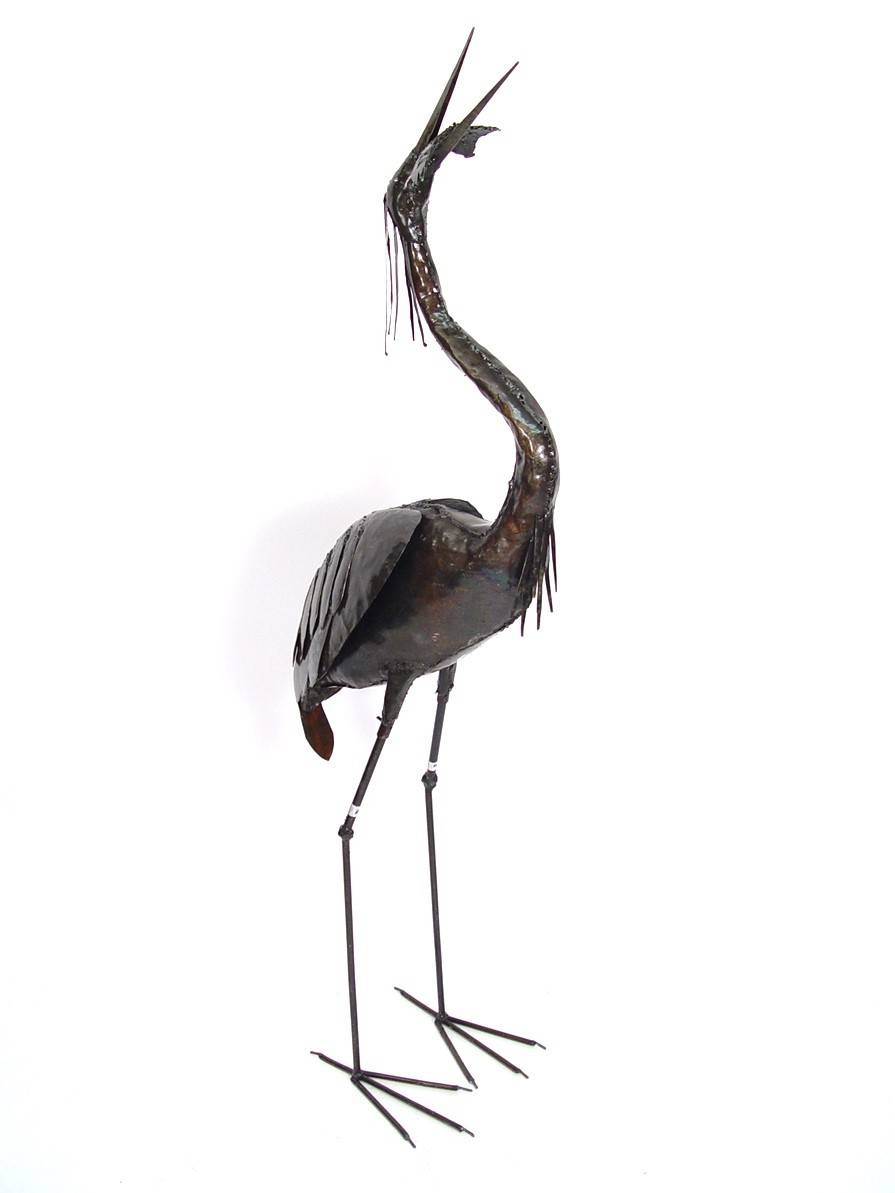 Blue Heron Eating Fish| Recycled Metal Sculptures Intended For Newest Heron Metal Wall Art (View 2 of 20)