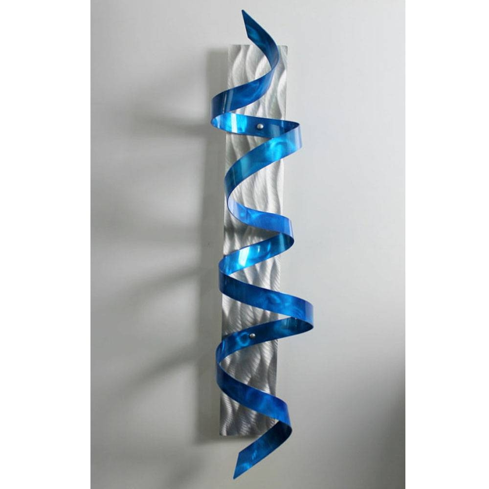 Blue Hurricane – Blue & Silver 3d Metal Wall Art Sculpture Accent Pertaining To Most Current Turquoise Metal Wall Art (View 9 of 20)