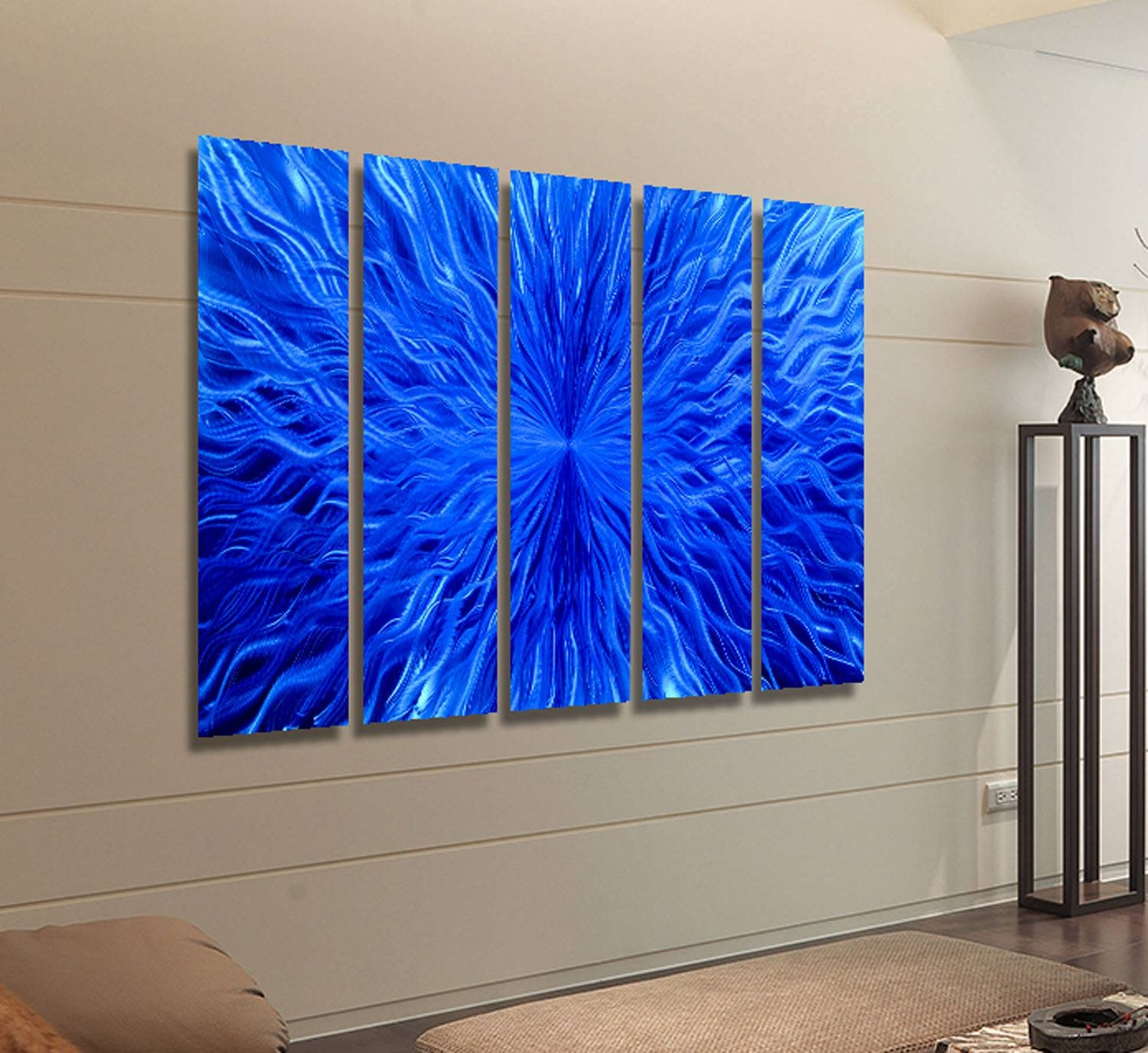 Blue Hurricane & Silver 3d Metal Wall Art Sculpture Accent Box In Newest Abstract Metal Wall Art (View 19 of 20)