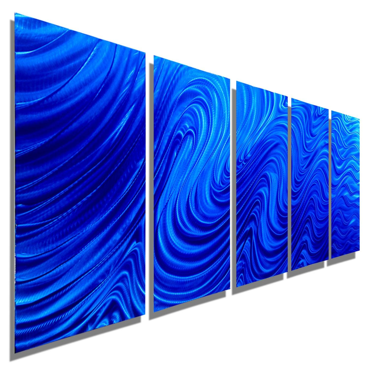 Blue Hypnotic Sands – Blue Four Panel Abstract Metal Wall Art Throughout Most Popular Blue Metal Wall Art (View 3 of 20)