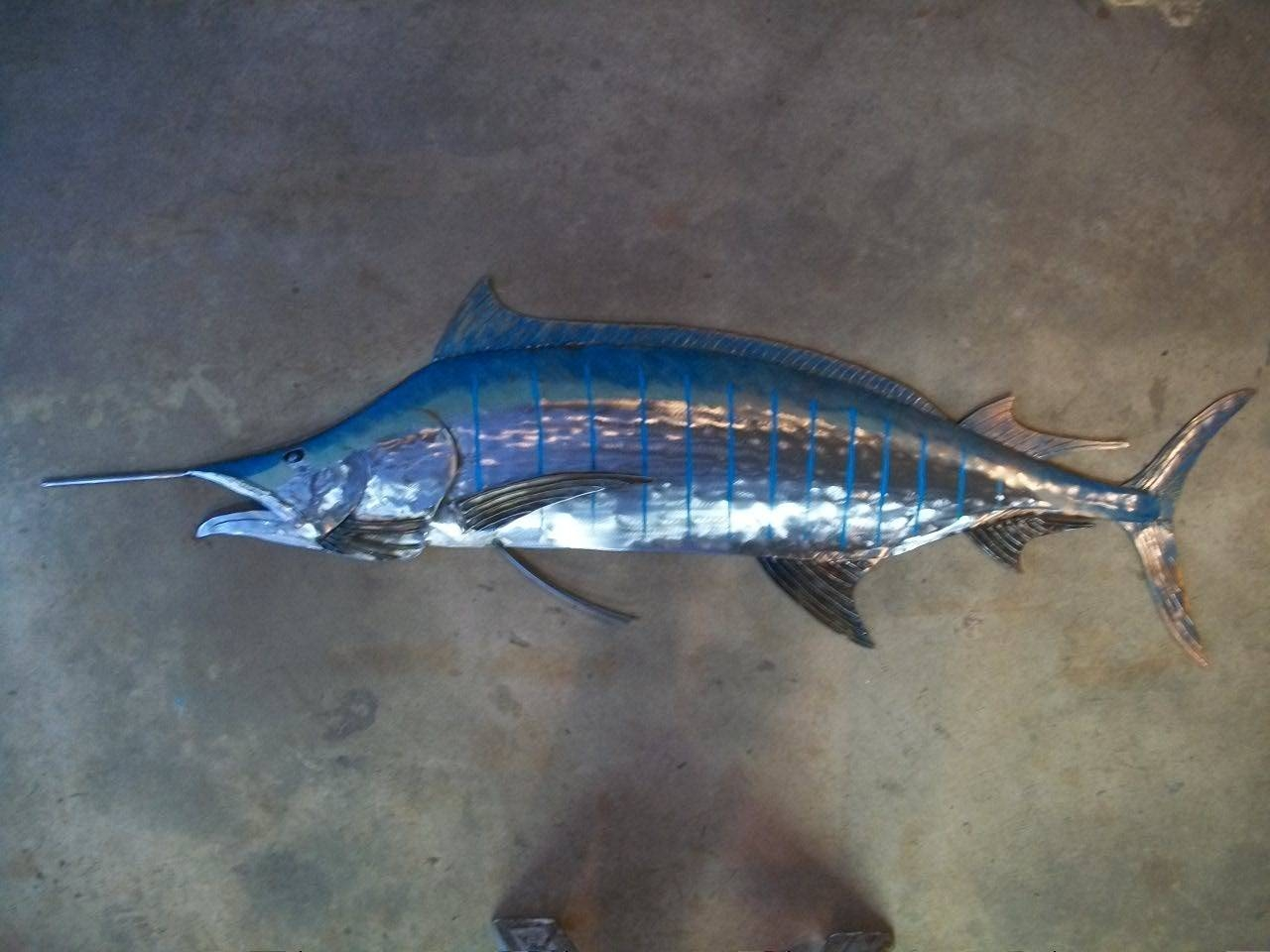 Blue Marlin Metal Fish Wall 68In Sculpture Beach Coastal For Most Popular Tropical Fish Metal Wall Art (View 3 of 20)