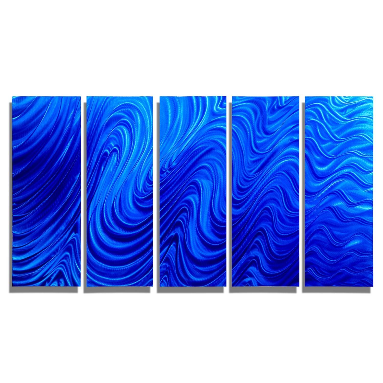 Blue Mirage – Blue Metal Wall Art – 5 Panel Wall Décorjon Inside Most Current Blue Metal Wall Art (View 4 of 20)