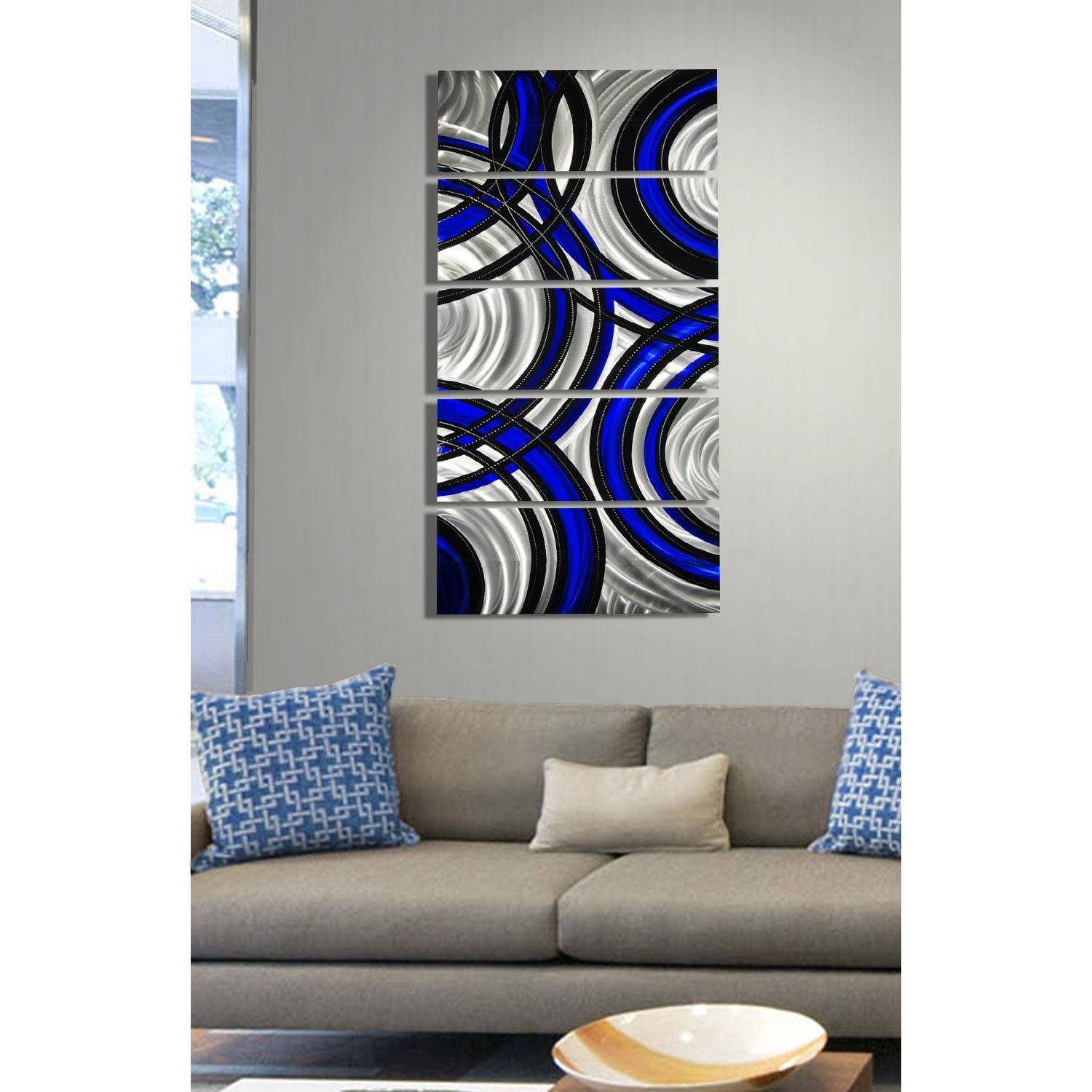 Blue Synergy – Blue, Black And Silver Metal Wall Art – 5 Panel In Current Black And Silver Metal Wall Art (View 2 of 20)